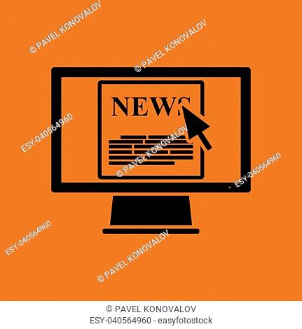 Monitor with news icon. Orange background with black. Vector illustration