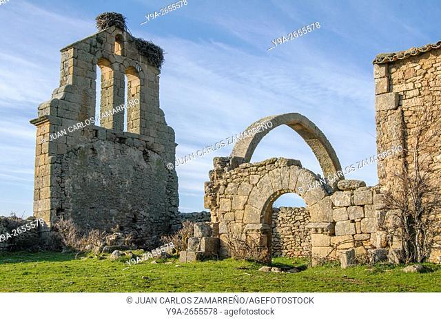 Ancient church, Villar del Rey, Castillejo de Martin Viejo, Campo Charro, Salamanca, Castilla y Leon, Spain