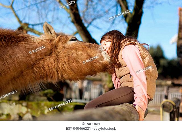 Young girl sitting in the wooden paddock fence exchange cuddles with her horse