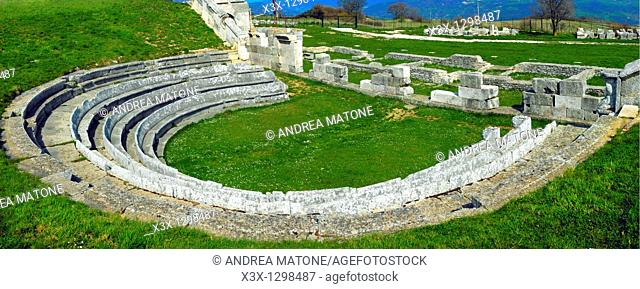 Full panoramic view of the ancient temple Samnium found in the archaeological site of Pietrabondante Molise Italy