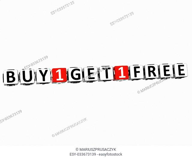 3D Buy One Get One Free Button Click Here Block Text over white background