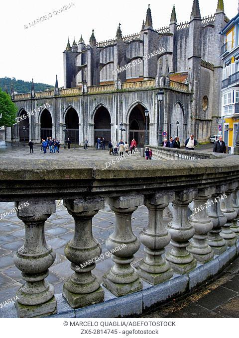 Santa Maria Basilica at Lekeitio village. Bizkaia province. Euskadi, Basque Country. Spain