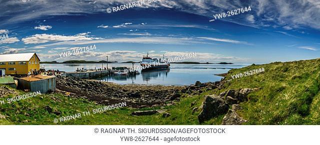 Ferry boat arriving at Flatey Island, Breidafjordur, Iceland