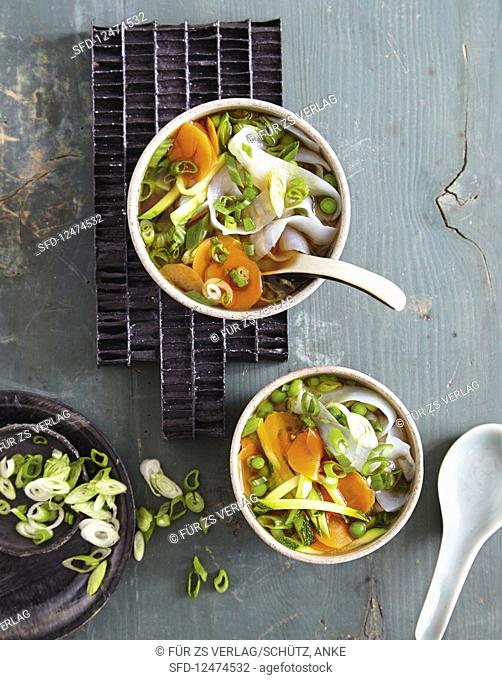Miso and vegetables soup with konjak noodles (low carb)