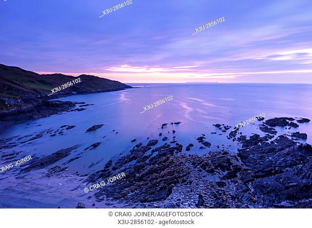 Rockham Beach and Morte Point on the North Devon coast at dusk, England
