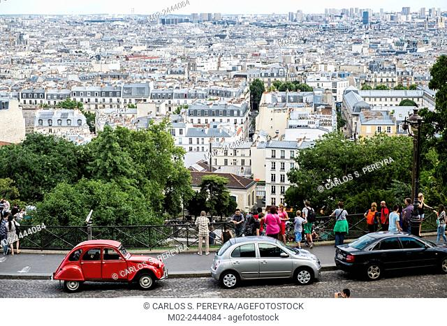 Panoramic of Paris from Sacre Couer, ile de France, France