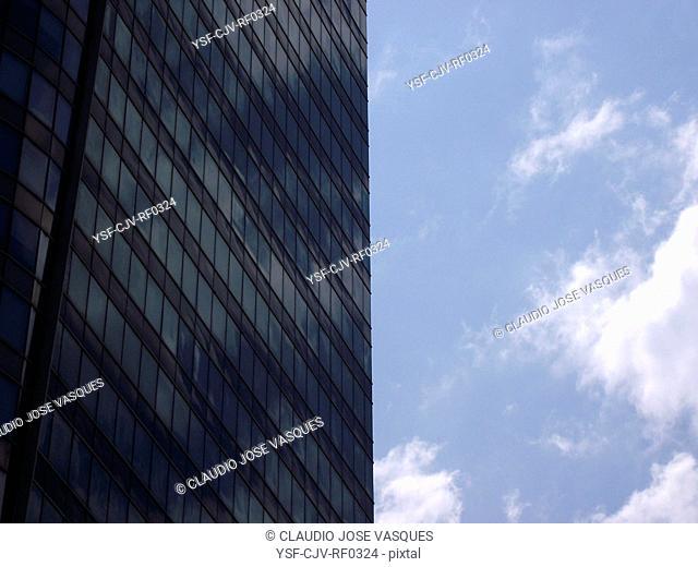 Window building, reflection clouds, City, Rio de Janeiro, Brazil