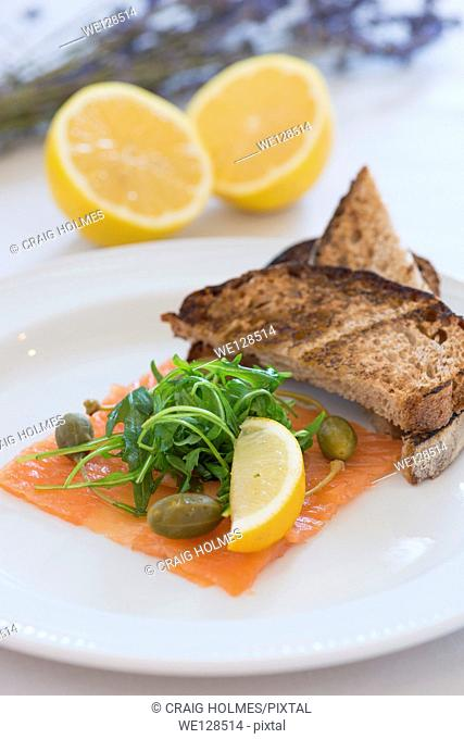 Fresh smoked salmon and toast