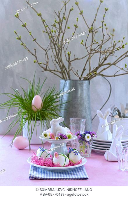 Easter buffet with pink eggs