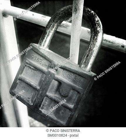 Love padlock on a fence, Valencia, Spain