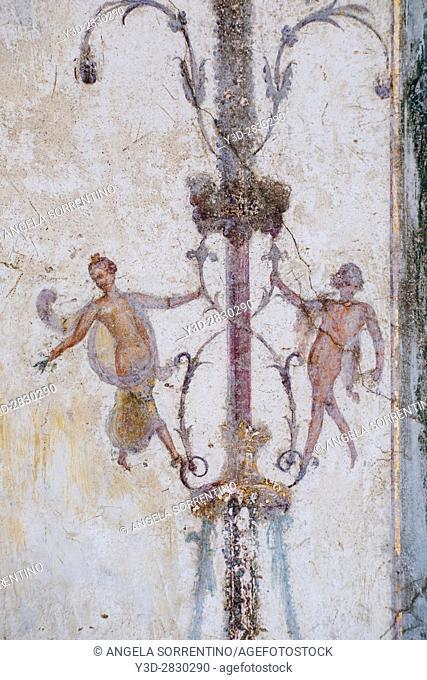 Ruined Roman Fresco in the Bay of Naples, Italy