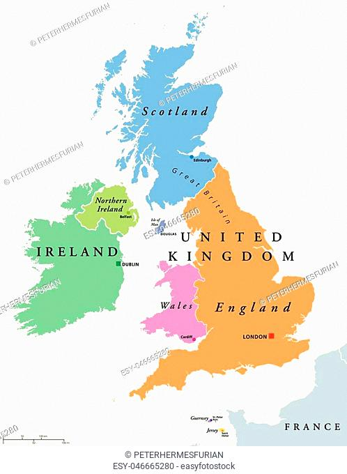United Kingdom countries and Ireland political map. England, Scotland, Wales, Northern Ireland, Guernsey, Jersey, Isle of Man and their capitals in different...