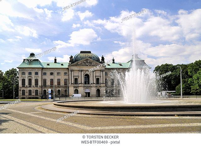 Germany, Dresden-Neustadt, Japanese Palace at Palaisplatz with fountain in the foreground