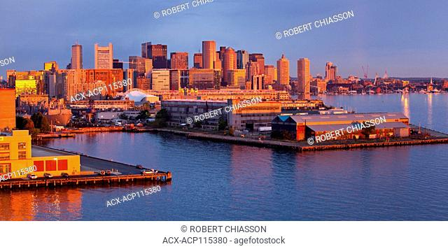 View of the port facilities and the southern end of City of Boston at dawn, Massachusetts, U.S.A