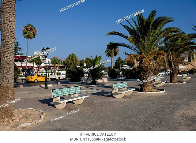 Tunisia - Hammamet - The town from the promenade along the beach