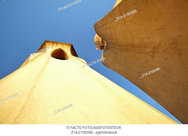 Details of Chimneys on roof of Casa Mila, known as La Pedrera, designed by architect Antoni Gaudi. Barcelona, Catalonia, Spain