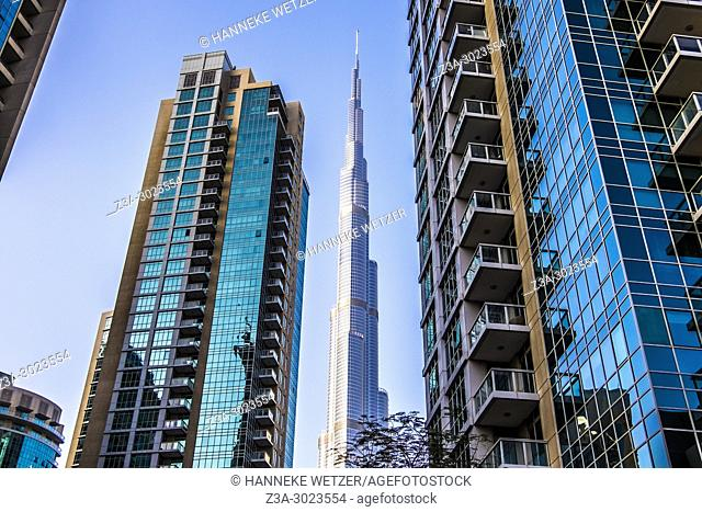 Burj Khalifa seen through supertall skyscrapers in Dubai