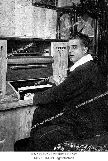 PIETRO MASCAGNI Italian musician, composer of Cavalleria rusticana, L'amico Fritz and many other operas, at the organ keyboard