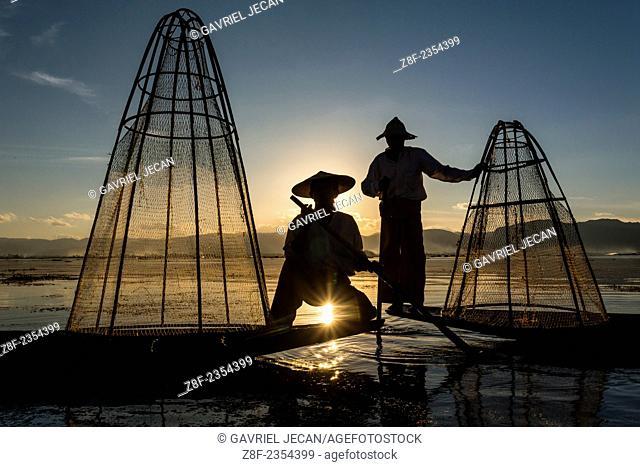 Fisherman on Inle Lake fishing, Myanmar