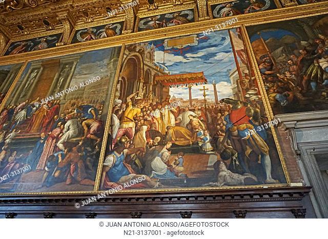 """In the centre we see Federico Zuccani's """"""""Il Barbarossa bacia il piede al Papa"""""""". On the left, """"""""Il papa permette a Ottone di recarsi presso il padre per..."""