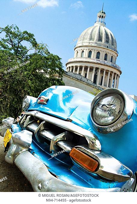 Capitol building and old car, Havana. Cuba