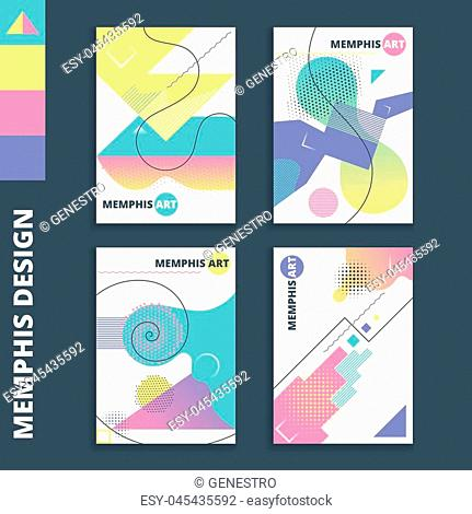 Set of retro style card templates. Memphis art sign for a4 banners, posters, flyers and covers. Minimalistic style posters with abstract lines and shapes