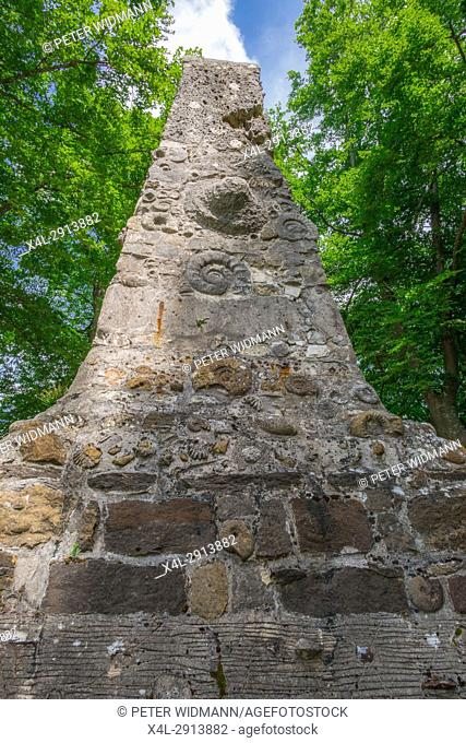 Geological Pyramid at the Schloss Lichtenstein Castle, Honau, Baden-Wurttemberg, Germany, Europe