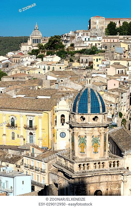 The old baroque town of Ragusa Ibla in the Val di Noto in Sicily