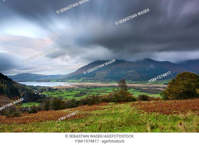 View towards Bassenthwaite Lake and Skiddaw, Lake District National Park, Cumbria, England, United Kingdom, Europe