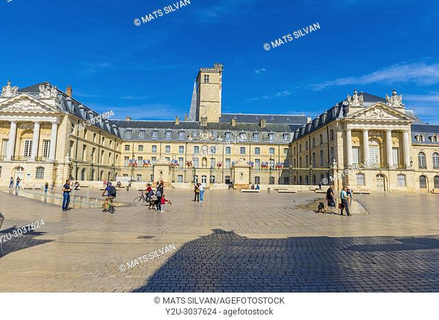 Town Hall on Liberation Square in a Sunny Day with Blue Sky and Fountain in Dijon, Burgundy, France