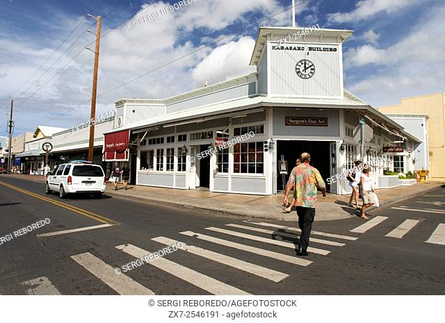 Nagasako building. Sargent's fine art. Shops in Lahaina center, Maui, Hawaii. Front Street. One of the most popular places to shop in Lahaina is Front Street