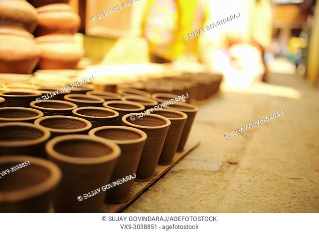 Variety of earthenware made out of clay using traditional method