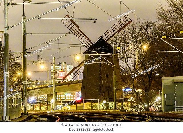 STOCKHOLM, SWEDEN Skanstull Windmill at tram station. Skanskvarn