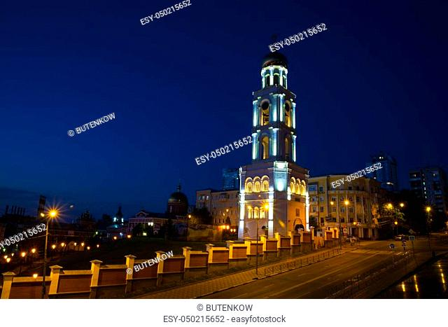 Bell tower with the Church of St. Nicholas at night in Samara Russia. 27 June 2018