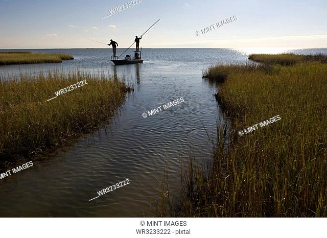 A silhouette of a fly fisherman and a guide casting for redfish from a flats boat poling skiff in the fresh water marsh south of New Orleans, Louisiana USA