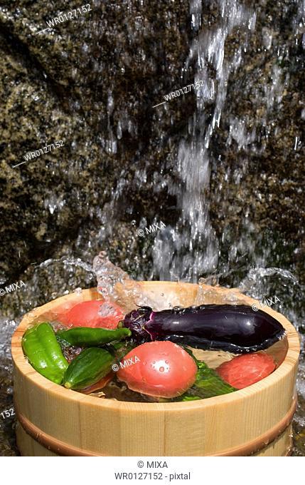 Vegetables in tub
