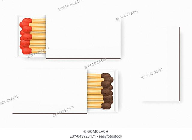 Vector 3d realistic closed and opened blank box of matches with brown and red heads icon set, closeup isolated on white background, top view, white heads