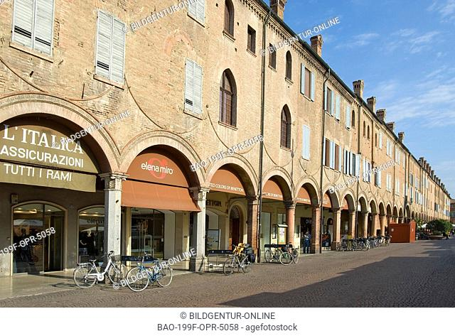 Image of the Portica Lungo Arcade at the historical town centre of Carpi, Emilia-Romagna, Italy
