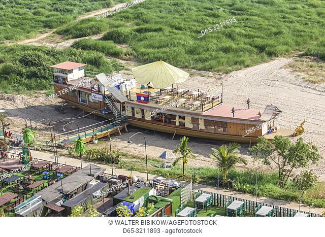 Laos, Vientiane, high angle view of Mekong Riverfront restaurant