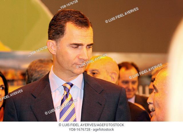 The Prince of Asturias, Don Felipe de Borbón, at the Tourism Fair, Ifema, Fitur 2012, Madrid, Spain, Europe