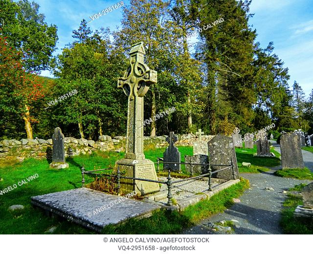 Graveyard in Glendalough Early Monastic Site, County Wicklow, Ireland, Europe