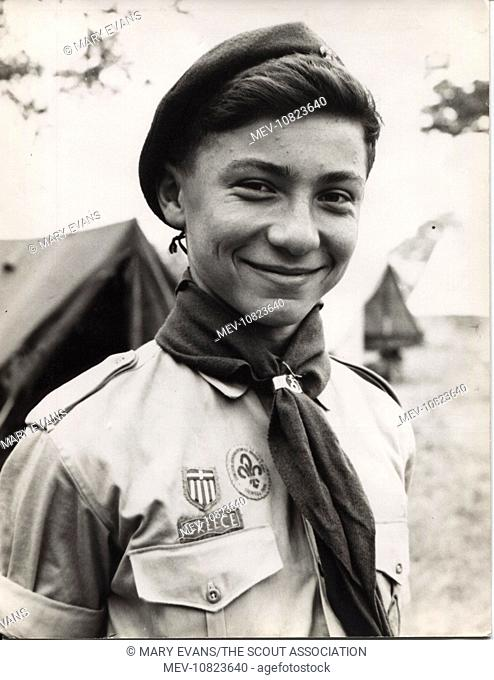 Portrait of a Greek boy scout at camp
