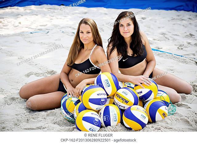 Czech Republic's beach volleyball team Martina Bonnerova (left) and Barbora Hermannova pose in Prague, Czech Republic, on Friday, June 28, 2013