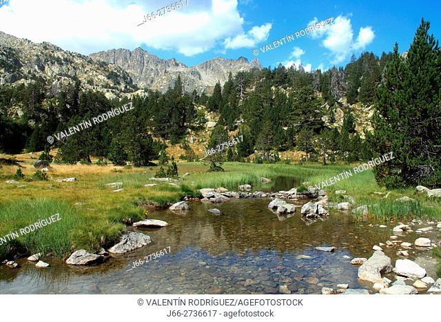 Landscape between lake Ratera and lake Amitges. National Park Aigüestortes and lake San Mauricio. Lérida