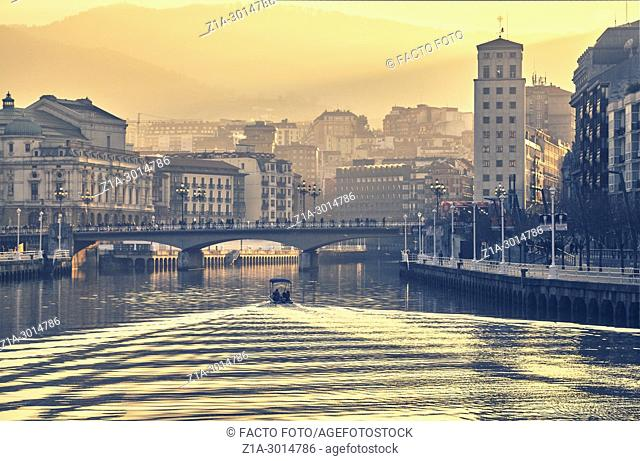 The Nervion river on its way to the Arenal bridge. Bilbao. Biscay. Basque Country. Spain