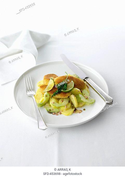 Viennese style Wollwurst Schnitzel with Potato-Cucumber salad