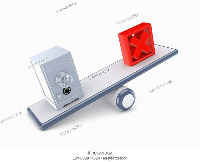 Iron safe and red cross mark on a scales.Isolaten on white background.3d rendered