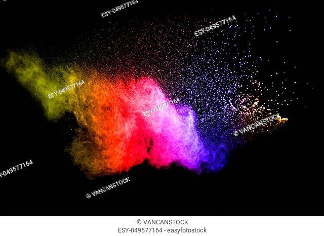 Multicolored powder splash cloud isolated on black background