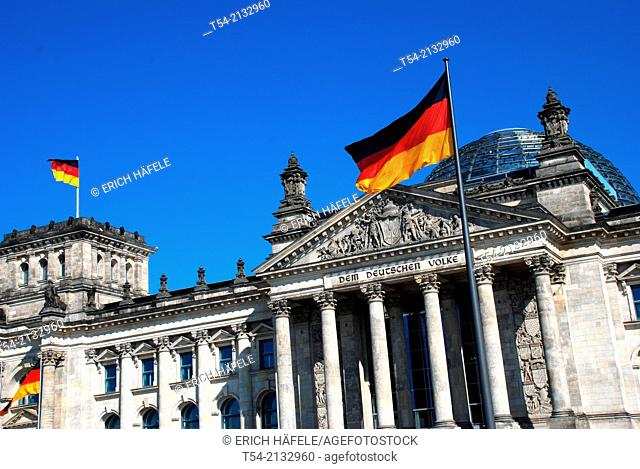 German national flag in front of the Bundestag in Berlin