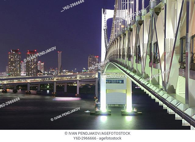 The Rainbow Bridge at Dusk, Tokyo, Japan